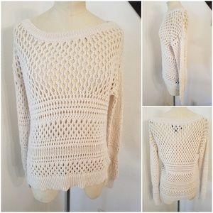 AEO Open Knit Crochet Top Sz M Ivory